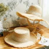 編織絲帶草帽女太陽帽防曬沙灘帽