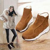 【新年鉅惠】羊皮毛一體短筒雪地靴女短靴冬季鬆糕厚底棉靴羊毛靴運動女靴棉鞋
