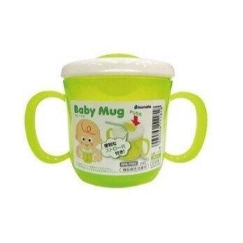 日本 inomata可插飲管水杯 / Baby Mug雙耳吸管杯 210ML -綠【1818】