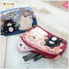 化妝包~Le Baobab日系貓咪包 啵啵貓童話世界雙層化妝包/護照夾/收納袋/拼布包包