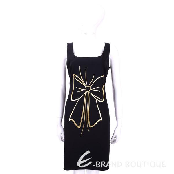 BOUTIQUE MOSCHINO 黑色燙金蝴蝶結圖印無袖洋裝 1540748-01