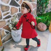 女童旗袍漢服中國風兒童儒裙秋冬唐裝新款過新年拜年喜慶洋氣裙子 免運
