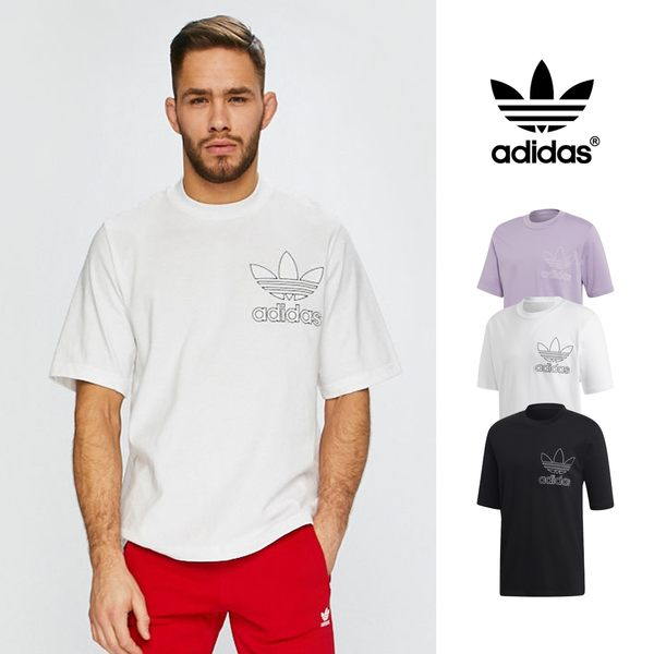 【GT】Adidas Originals 黑白紫 短袖T恤 寬鬆 落肩 純棉 運動 休閒 上衣 短T 愛迪達 三葉草 Logo