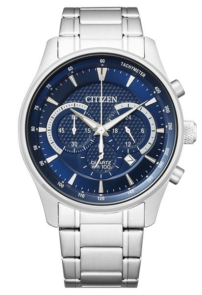 42mm【分期0利率】星辰錶 CITIZEN 石英錶 藍 三眼計時 全新原廠公司貨 AN8190-51L