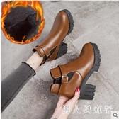 馬丁靴英倫風新款網紅百搭粗跟短靴高跟鞋秋冬季ins單款刷毛加絨切爾西靴 DR32458【男人與流行】
