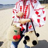 編織包草編包包沙灘編織草包手提女包櫻桃黑球球日韓時尚休閒水桶包    萌萌小寵