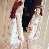 孕婦夏裝裙子時尚款韓版寬鬆孕婦裙中長款夏季孕婦連身裙 雙12