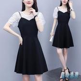 5XLa字洋裝 大碼女裝胖MM假兩件蕾絲拼接赫本風修身顯瘦氣質連身裙 TR1155 『男神港灣』