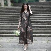 亞麻洋裝-五分袖印花V領寬鬆長款女連身裙74ba33[巴黎精品]