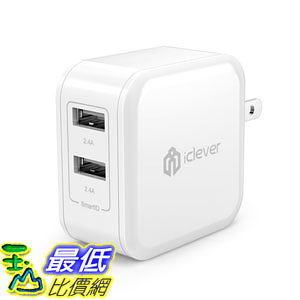 [106美國直購]  iClever BoostCube 充電器 4.8A 24W Dual USB Travel Wall Charger with SmartID Technology