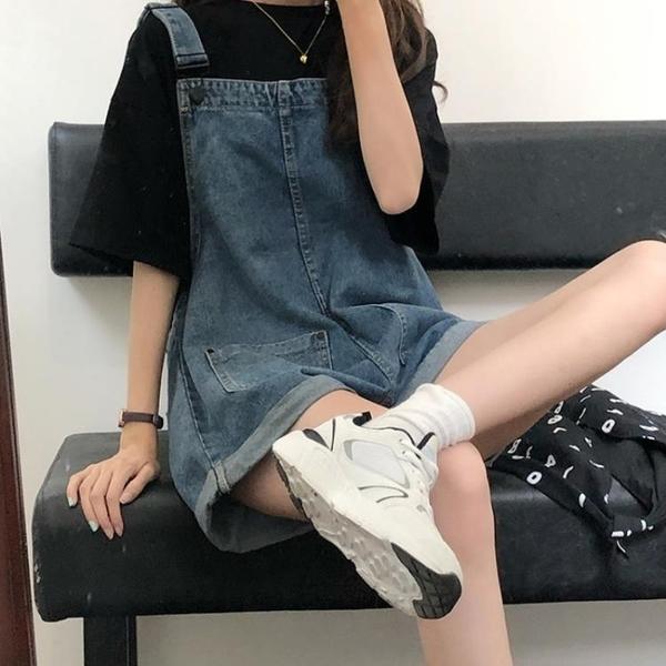 吊帶褲 牛仔吊帶褲女裝夏季2021新款韓版寬鬆網紅復古短褲可愛日系小個子