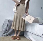 春秋新款韓國氣質甜美不規則針織裙長裙/共三色(SK01)