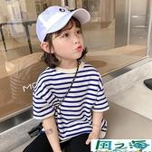 兒童短袖上衣女童短袖T恤夏裝小女孩韓版時尚兒童夏季條紋上衣潮 風之海
