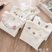 女童打底衫秋冬3女寶寶花邊領長袖上衣加絨加厚純棉娃娃領t恤白色 嬌糖小屋