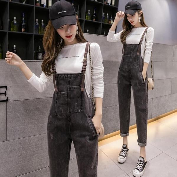 吊帶褲 時尚牛仔吊帶褲夏季女2021年春秋裝新款韓版寬鬆洋氣減齡顯瘦套裝