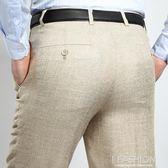 中年休閒褲男夏季薄款大碼西褲男寬鬆直筒商務亞麻西裝褲長褲-Ifashion