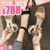 任選2雙788涼鞋韓版簡約熟女風素色一字帶低跟涼鞋【02S11083】