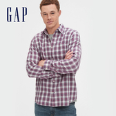 Gap 男裝 清爽格紋翻領長袖襯衫 548296-藏藍紅綠格紋