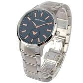 EMPORIO ARMANI藍色紋理小秒針轉盤不鏽鋼男腕錶43mm(AR11137)270206