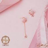 耳環 韓國直送水鑽蛋白石月亮星星垂墜不對稱耳環-Ruby s 露比午茶