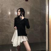 韓版假兩件長袖針織不規則連衣裙女秋冬新款寬鬆復古氣質打底裙潮【街頭布衣】