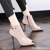 2020秋冬新款韓版高跟馬丁靴女短靴細跟瘦瘦女鞋尖頭性感加絨女靴 美眉新品
