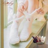 襪子 立體可愛動物珊瑚絨防滑地板短襪-Ruby s 露比午茶