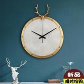 歐尚-掛鐘客廳個性創意時尚北歐輕奢純銅鹿頭鐘表現代簡約大氣家用時鐘