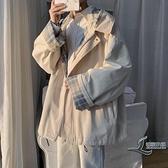 男士復古外套春季格子夾克韓版寬鬆休閒上衣【邻家小鎮】
