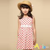 Azio 女童 洋裝 腰部蕾絲花朵背部拉鍊洋裝(紅) Azio Kids 美國派 童裝