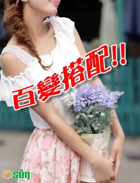 【Osun】蕾絲小可愛背心 夏季百搭蕾絲雙肩-短版(黑/白 #2051/CE-176C)