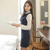 女裝韓版時尚氣質修身收腰長袖拼接打底洋裝「爆米花」