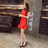 新款年輕中國風旗袍短款少女敬酒服新娘紅色結婚禮服走秀宴會