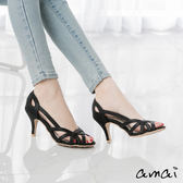 amai鏤空編織高跟涼鞋 黑