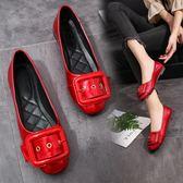 紅色淺口平底單鞋孕婦鞋低跟低筒皮帶扣工作鞋新款女鞋 青木鋪子