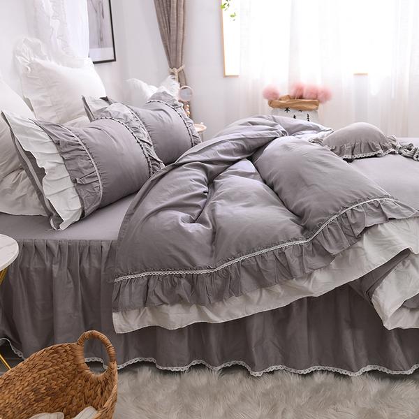 公主床罩 密語 灰色 5尺 標準雙人 薄床罩四件組 公主床裙 蕾絲  薄紗 荷葉邊 床裙組 床罩組