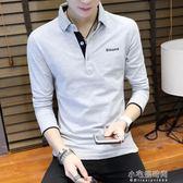 秋裝男士長袖T恤潮流青年襯衫領POLO衫男衣服打底衫『小宅妮時尚』