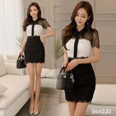 OL洋裝氣質職場女裝夏季新款女黑白拼接蕾絲短袖包臀連身裙cp614【甜心小妮童裝】