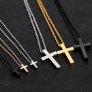 《QBOX 》FASHION 飾品【C100N796】精緻秀氣大小十字架鈦鋼墬子項鍊(男/女)