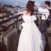 洋裝閨蜜衣白色露肩雪紡洋裝女2018新款韓版一字領修身顯瘦度假沙灘裙子夏