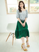 春裝上市[H2O]可兩面穿刺繡裝飾泡泡袖雪紡上衣 - 藍條/白/粉色 #9675006