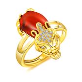 《 QBOX 》FASHION 飾品【R100N078】 精緻女款招財貔貅瑪瑙石鍍黃K金戒指/戒環(可調式)