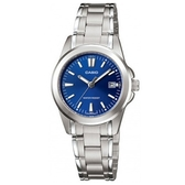 【CASIO】典雅時尚日期顯示不鏽鋼腕錶-羅馬藍面(LTP-1215A-2A2)
