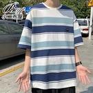 男短T恤 韓版海軍風條紋寬版五分短袖上衣【NLHYXS-T41】