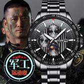 交換禮物-正品瑞士陀飛輪全自動機械錶防水夜光運動大錶盤手錶男特種兵軍錶