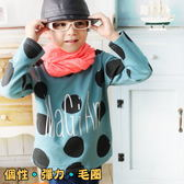 【韓版童裝】彈力毛圈大圓點細英字上衣-藍綠【BD16091401】