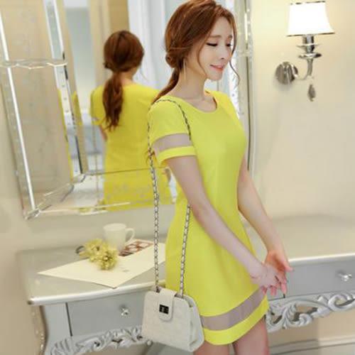 春夏新款女裝韓版時尚修身氣質拼接打底裙連衣裙女短裙 0068H  彼得麗絲