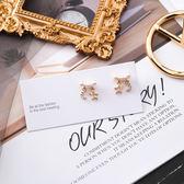 耳環 925銀針 珍珠水鑽小巧星月 耳針【Ann梨花安】