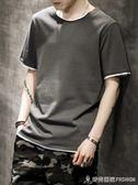 男士短袖t恤夏季韓版新款潮流純棉衣服夏裝體恤衫寬鬆半袖潮 時尚潮流