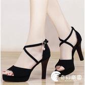 高跟鞋-魚嘴涼鞋女高跟夏季新款韓版百搭細跟高跟鞋防水臺女鞋子-奇幻樂園